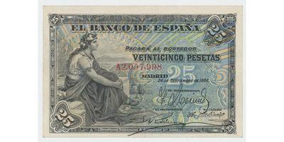 Španělsko, 25 Pesetas 1906, P.57a