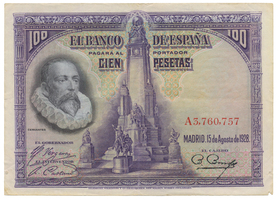 Španělsko, 100 Pesetas 1928, série A, P.76