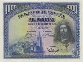 Španělsko, 1000 Pesetas 1928, P.78