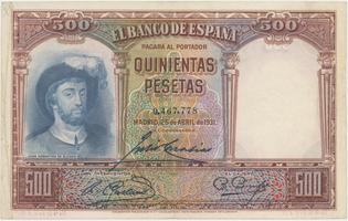 Španělsko, 500 Pesetas 1931, P.84