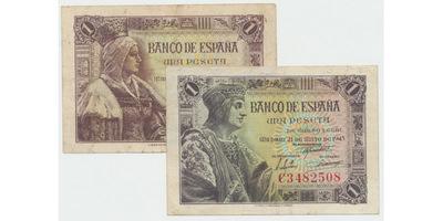 Španělsko, 1 Peseta 1943, 1945, P.126, 128, 2 ks