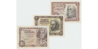 Španělsko, 1 Peseta 1948, 1951, 1953, P.135, 139, 144, 3 ks