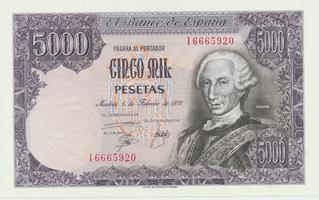 Španělsko, 5000 Pesetas 1976, P.155