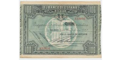 Španělsko, 100 Pesetas 1937, Bilbao P.S564