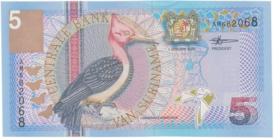 Surinam, 5 Gulden 2000, P.146