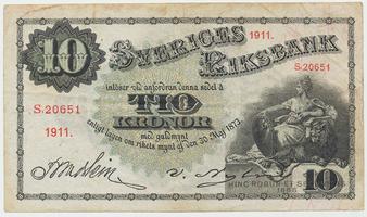Švédsko, 10 Kronor 1911, P.27f
