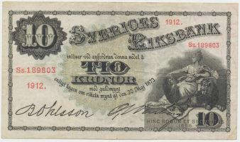 Švédsko, 10 Kronor 1912, P.27g, série Ss