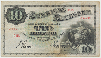 Švédsko, 10 Kronor 1915, P.27j