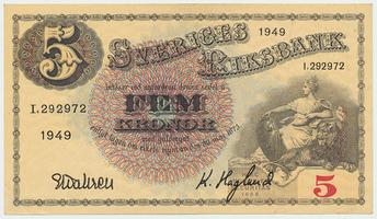 Švédsko, 5 Kronor 1949, P.33af