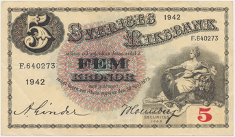 Švédsko, 5 Kronor 1942, P.33y