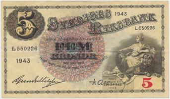 Švédsko, 5 Kronor 1943, P.33z