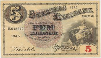 Švédsko, 5 Kronor 1945, P.33ab