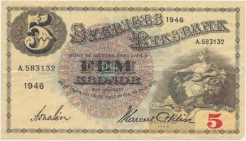 Švédsko, 5 Kronor 1946, P.33ac