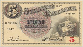 Švédsko, 5 Kronor 1947, P.33ad