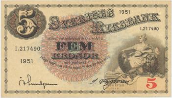 Švédsko, 5 Kronor 1951, P.33ah
