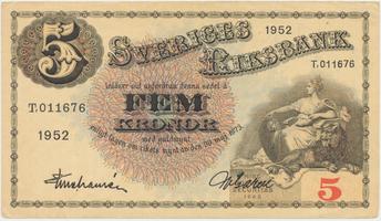 Švédsko, 5 Kronor 1952, P.33ai