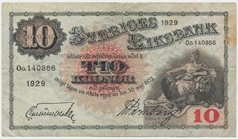 Švédsko, 10 Kronor 1929, P.34l