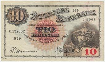 Švédsko, 10 Kronor 1939, P.34v