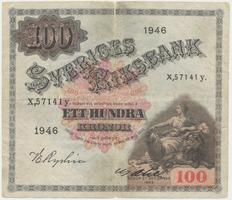 Švédsko, 100 Kronor 1946, P.36ab