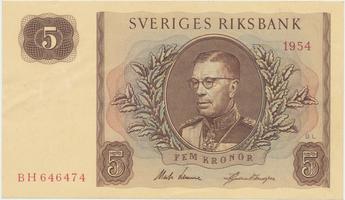 Švédsko, 5 Kronor 1954, P.42a