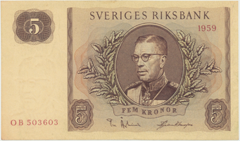 Švédsko, 5 Kronor 1959, P.42d