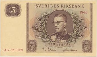 Švédsko, 5 Kronor 1960, P.42e