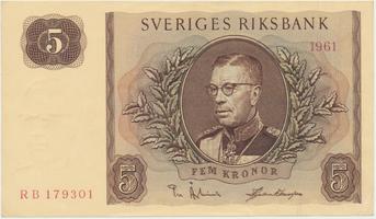 Švédsko, 5 Kronor 1961, P.42f
