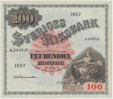 Švédsko, 100 Kronor 1957, P.45c