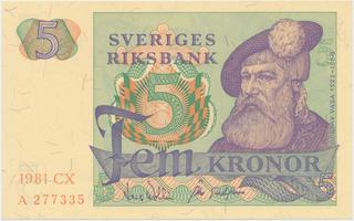 Švédsko, 5 Kronor 1981, P.51d