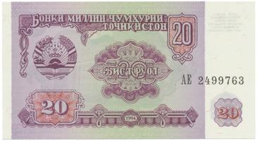 Tádžikistán, 20 Rubles 1994, P.4