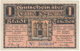 Teschen / Cieszyn (Těšín) - město, 1 K  30. 4. 1919, HH.217.4.1a