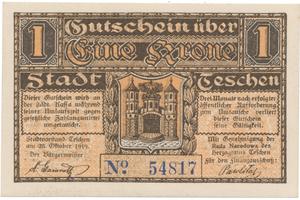 Teschen / Cieszyn (Těšín) - město, 1 K  25. 10. 1919, HH.217.4.3b