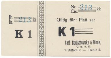 Třebíč - Budischowsky, 1 K  1914, kompletní včetně kupónu, HH.223.1.3.1f