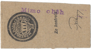 """Třebíč - město, 10 hal b.d., razítko """"Mimo oběh"""", HH.223.5.1aZ2"""
