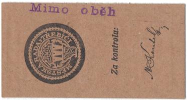 """Třebíč - město, 20 hal b.d., razítko """"Mimo oběh"""", HH.223.5.2Z2"""