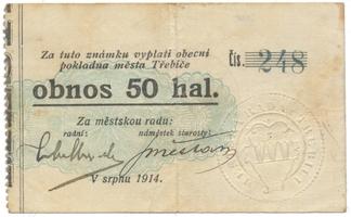 Třebíč - město, 50 hal srpen 1914, HH.223.5.3a