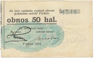 Třebíč - město, 50 hal srpen 1914, HH.223.5.3e