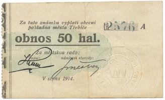 Třebíč - město, 50 hal srpen 1914, série A, HH.223.5.4a