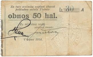 Třebíč - město, 50 hal srpen 1914, série A, nízké kontrolní číslo, HH.223.5.4b