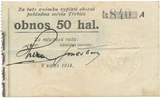 Třebíč - město, 50 hal srpen 1914, série A, HH.223.5.4c
