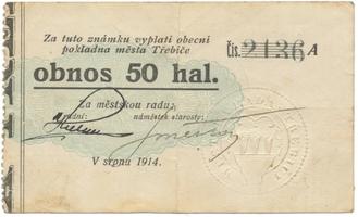 Třebíč - město, 50 hal srpen 1914, série A, HH.223.5.4e