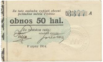 Třebíč - město, 50 hal srpen 1914, série A, HH.223.5.4g