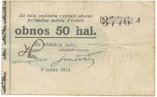 Třebíč - město, 50 hal srpen 1914, série A, HH.223.5.4h