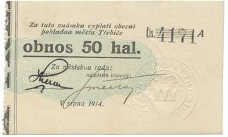 Třebíč - město, 50 hal srpen 1914, série A, HH.223.5.4i