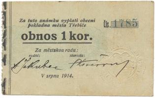 Třebíč - město, 1 kor. srpen 1914, HH.223.5.5