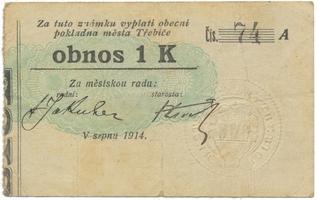 Třebíč - město, 1 K srpen 1914, silnější K, HH.223.5.6a1