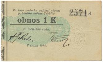 """Třebíč - město, 1 K srpen 1914, silnější K, bez """"Čís."""", HH.223.5.6a2"""