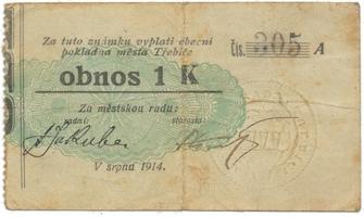 Třebíč - město, 1 K srpen 1914, slabší K, HH.223.5.6a3