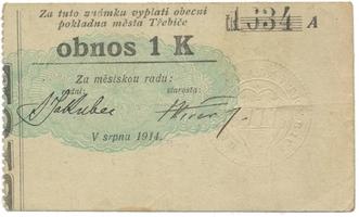 Třebíč - město, 1 K srpen 1914, silnější K, HH.223.5.6b1