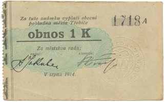 """Třebíč - město, 1 K srpen 1914, silnější K, bez """"Čís."""", HH.223.5.6b2"""